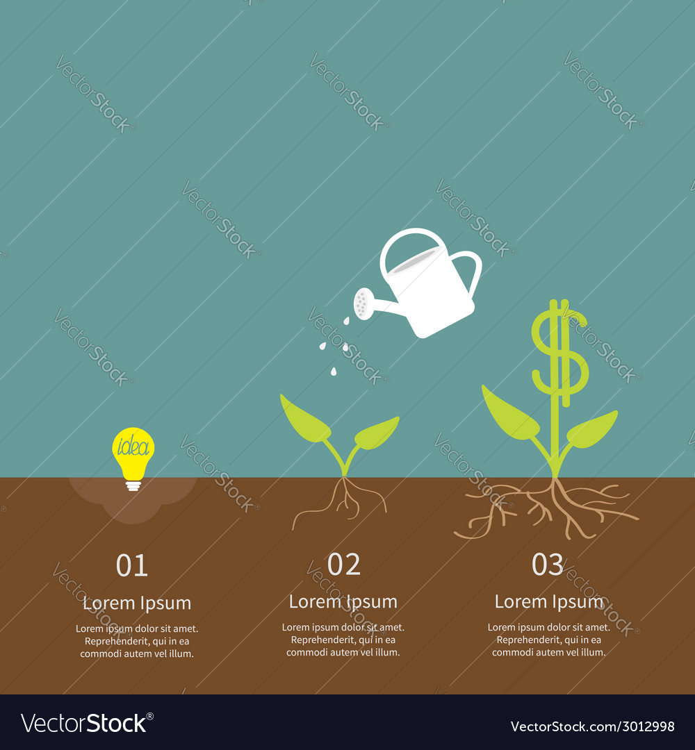 Idea bulb seed watering can dollar plant infograph vector | Price: 1 Credit (USD $1)