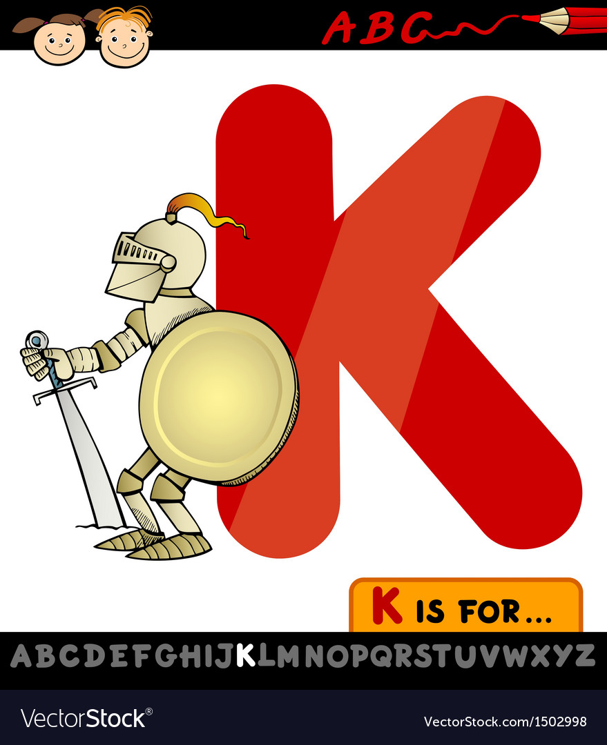 Letter k for knight cartoon vector | Price: 1 Credit (USD $1)