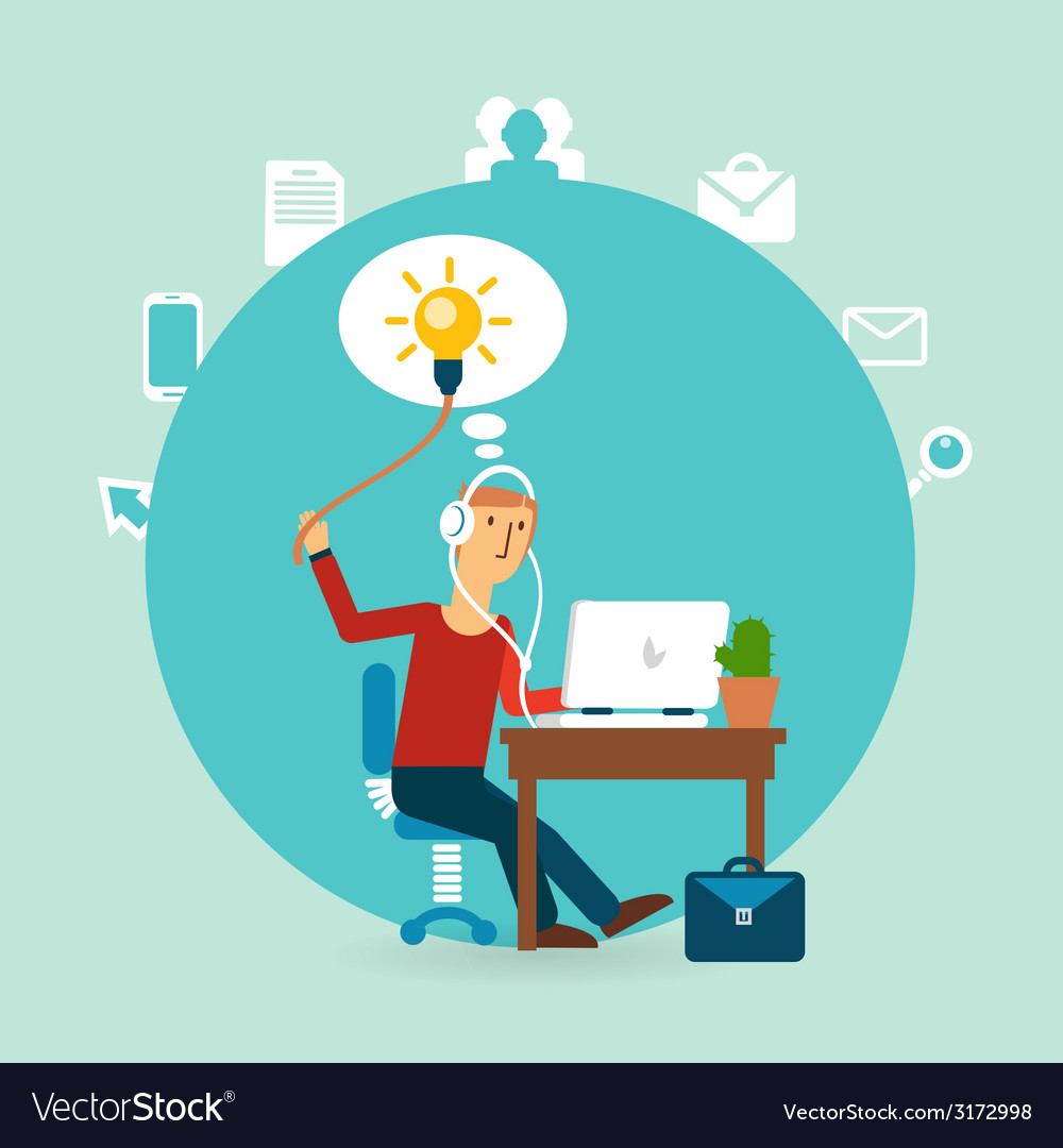 Office worker with an idea vector | Price: 1 Credit (USD $1)