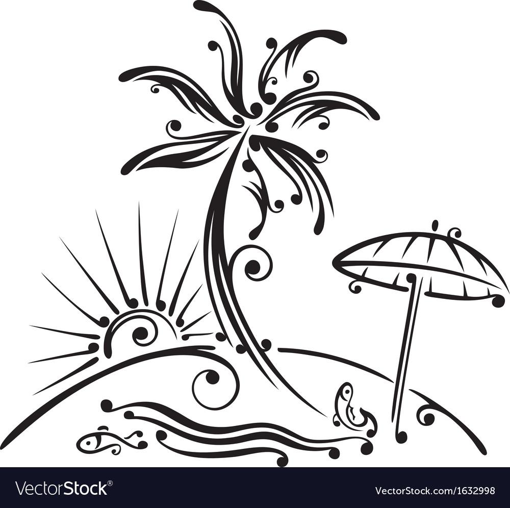 Palm tree beach sun vector | Price: 1 Credit (USD $1)