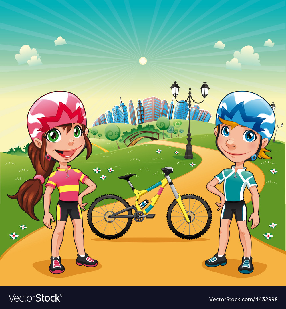 Park with young bikers vector