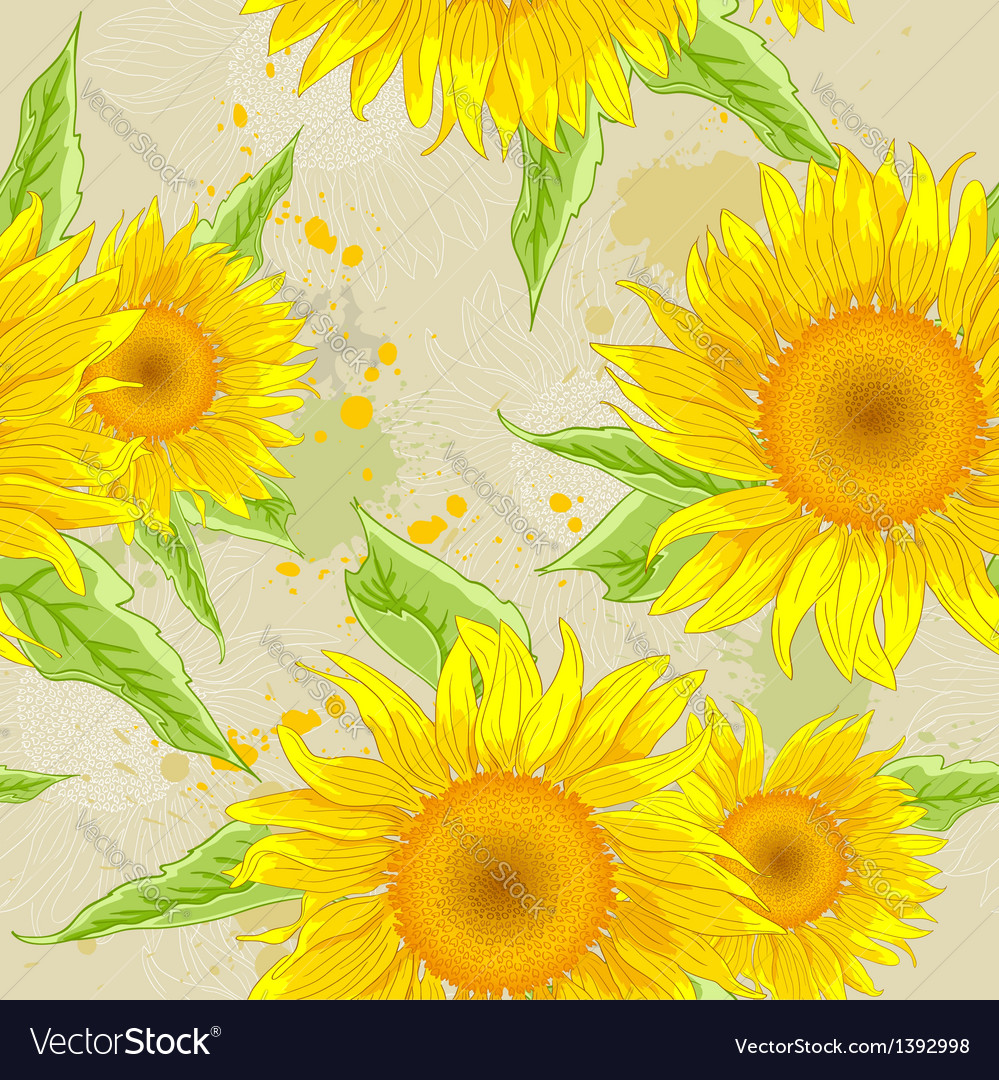 Sunflowers background vector | Price: 1 Credit (USD $1)