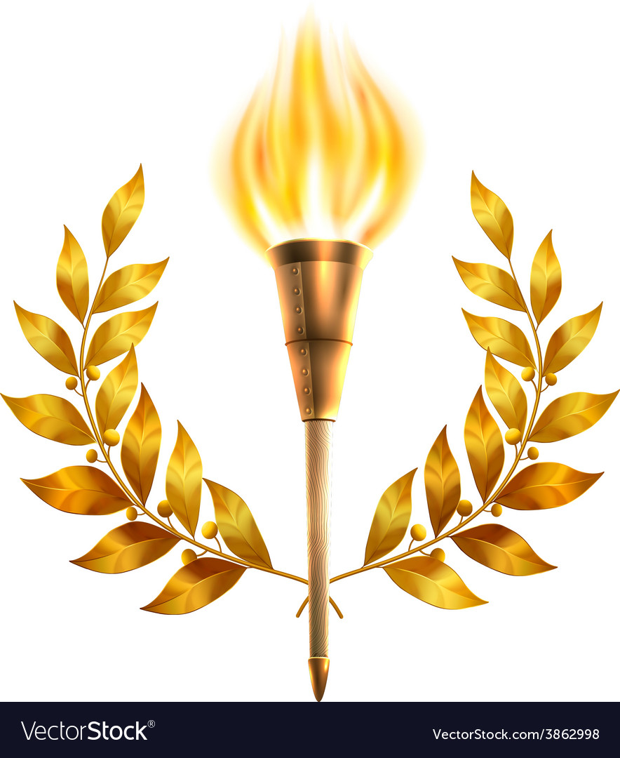 Torch and laurel wreath vector | Price: 1 Credit (USD $1)