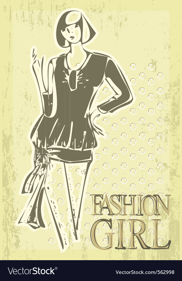 Vintage fashion girl vector | Price: 1 Credit (USD $1)