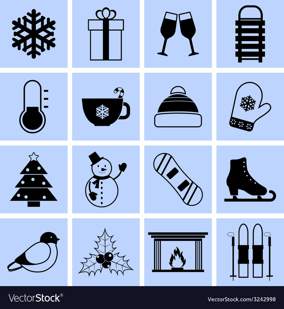 Winter icons set black and white vector | Price: 1 Credit (USD $1)