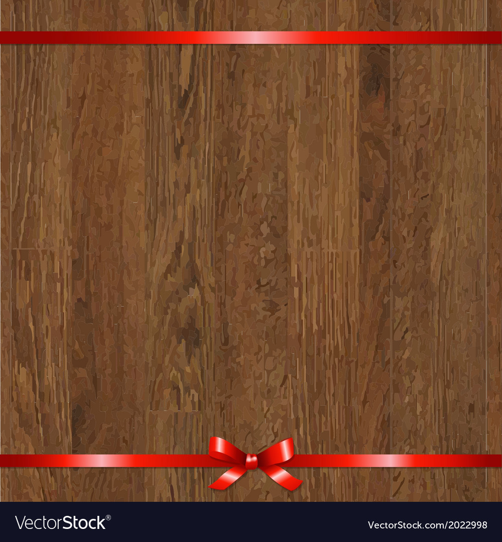 Wood background with red bow vector | Price: 1 Credit (USD $1)