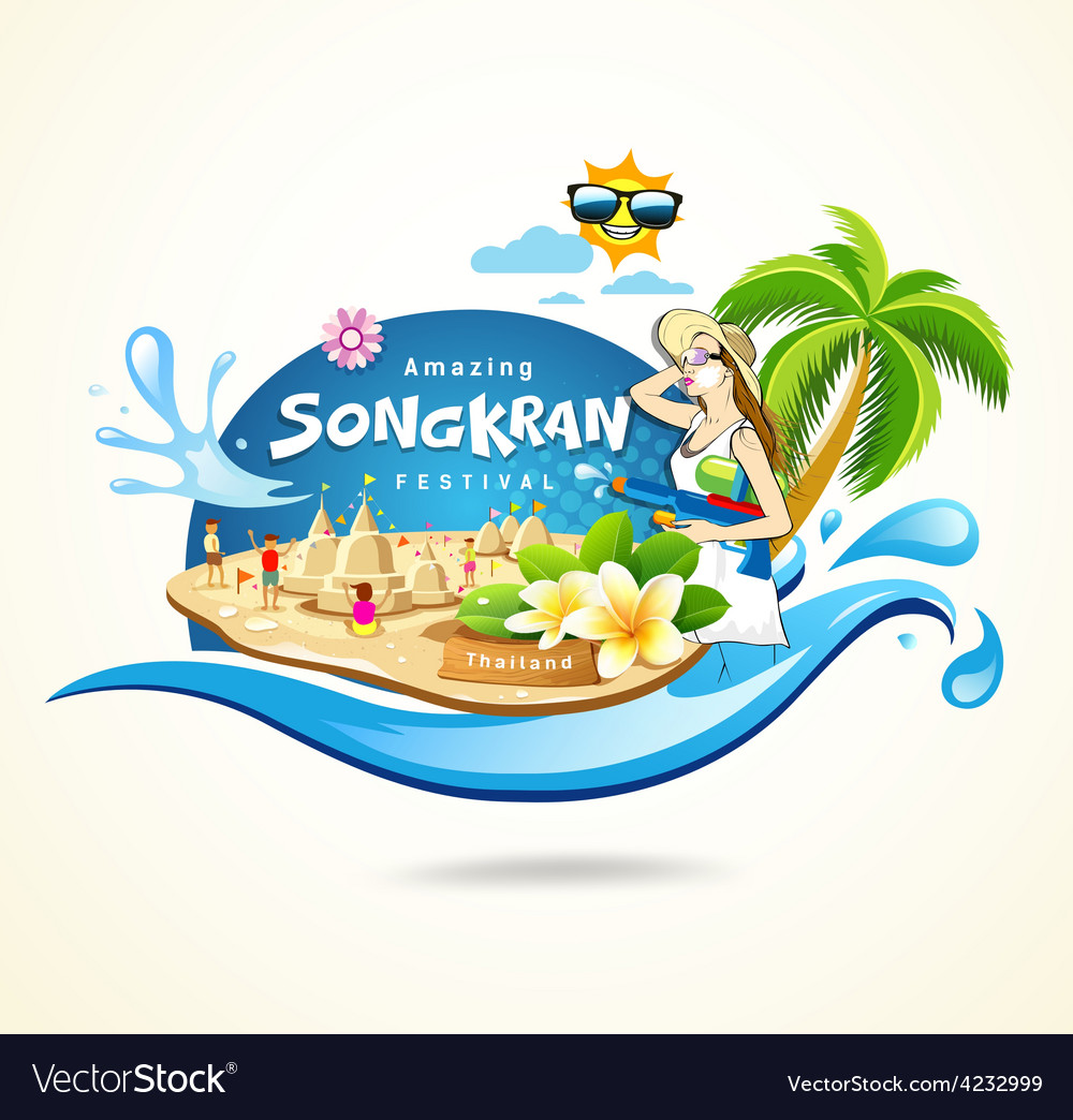 Amazing songkran festival in thailand vector | Price: 1 Credit (USD $1)