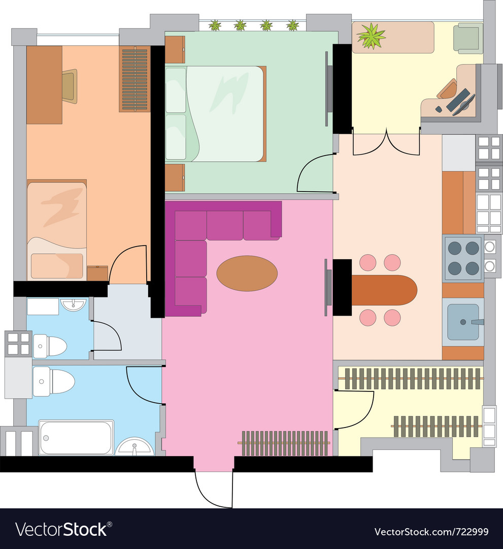 Apartment drawing vector | Price: 1 Credit (USD $1)
