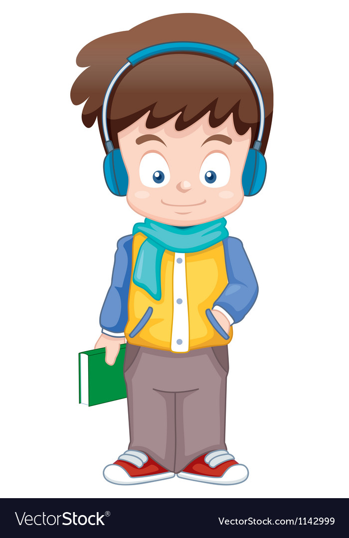 Cartoon boy listen music vector | Price: 1 Credit (USD $1)