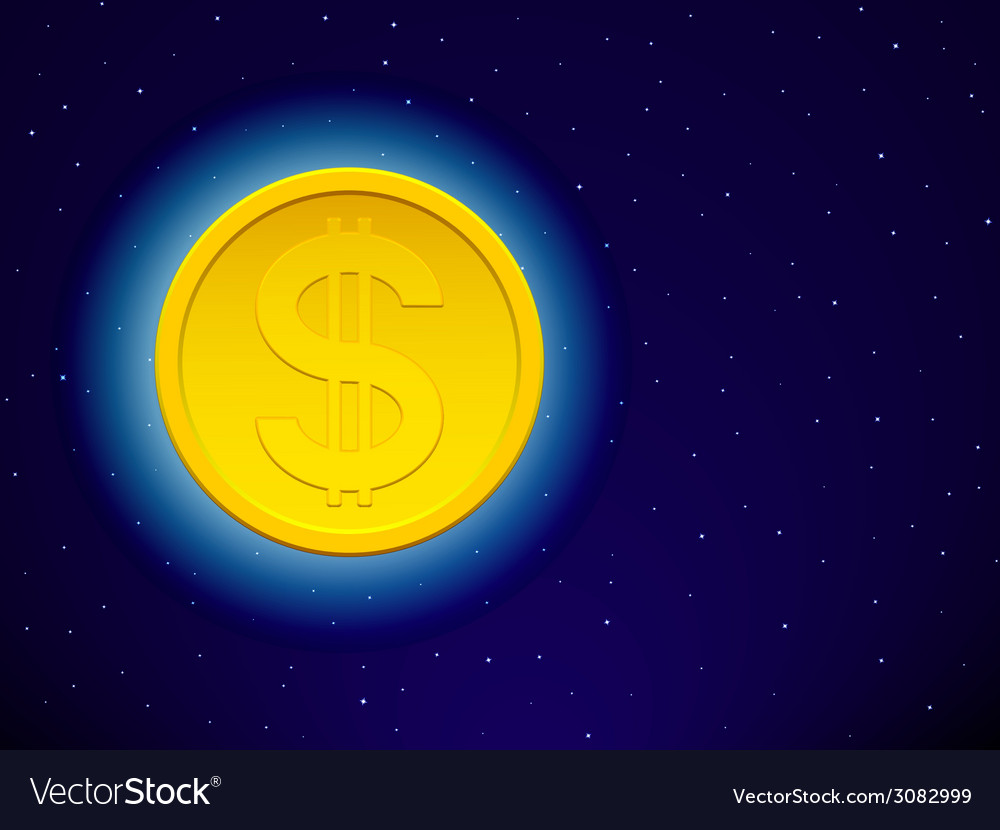 Dollar on starry sky vector | Price: 1 Credit (USD $1)