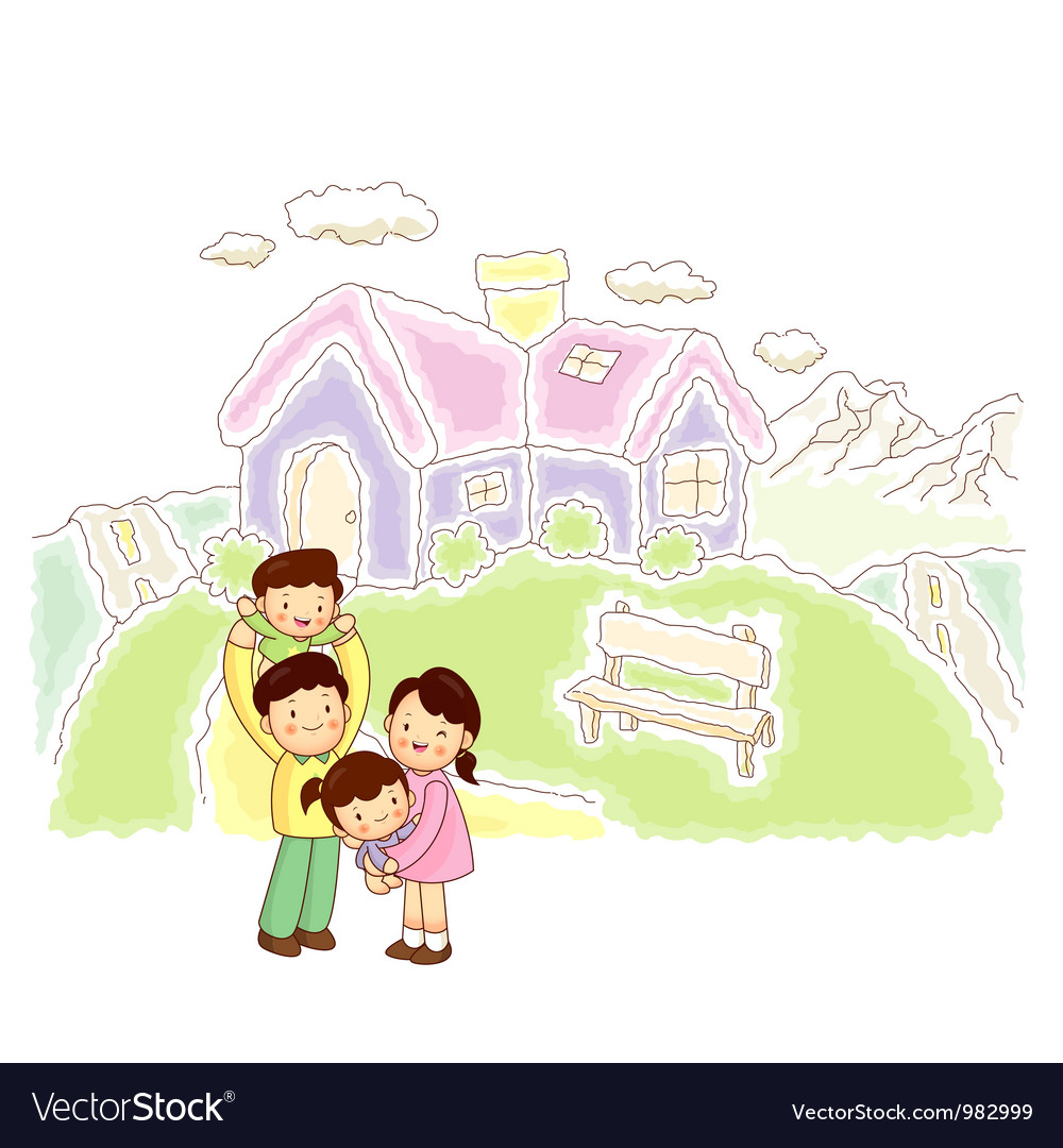 Happy family home vector | Price: 3 Credit (USD $3)