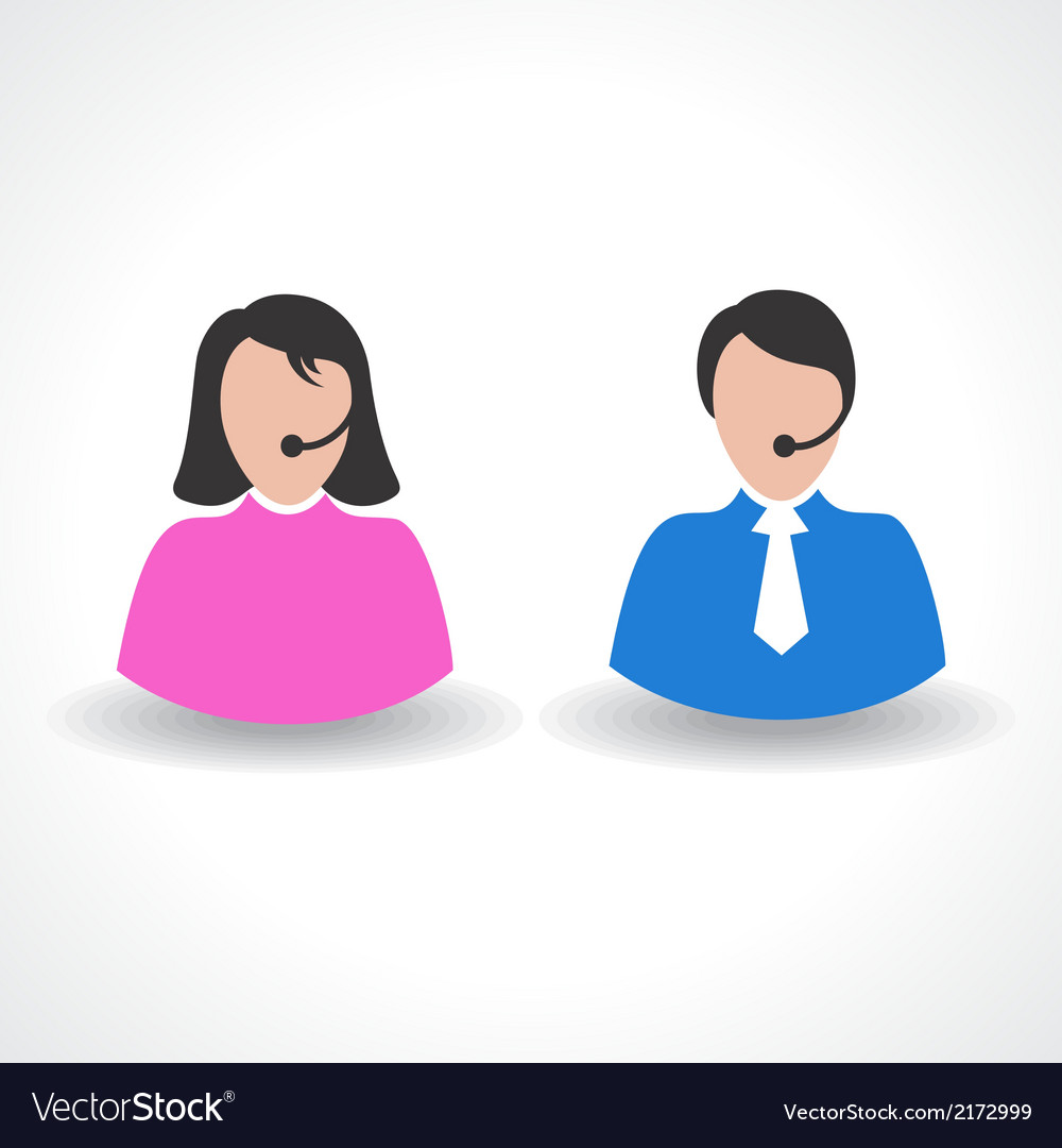 Male or female call center worker concept vector | Price: 1 Credit (USD $1)