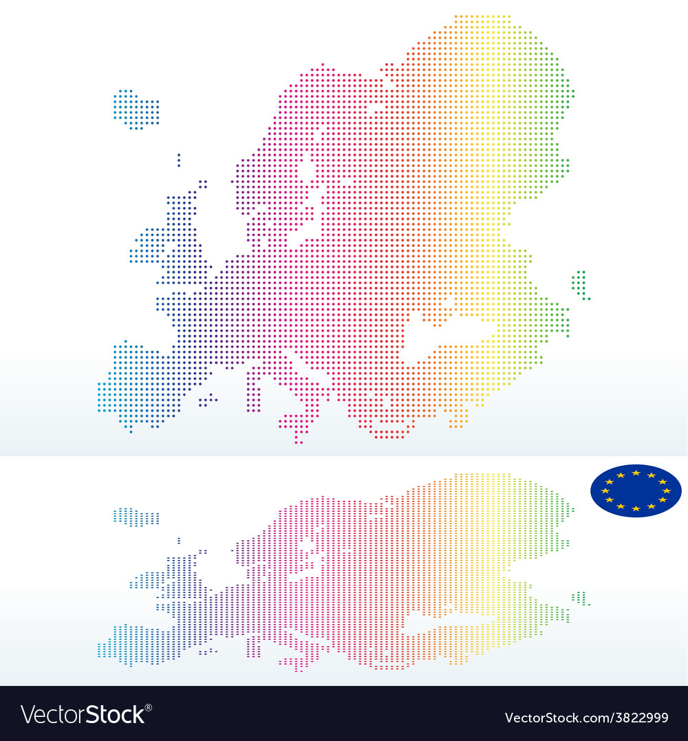 Map of continent of europe with with dot pattern vector | Price: 1 Credit (USD $1)