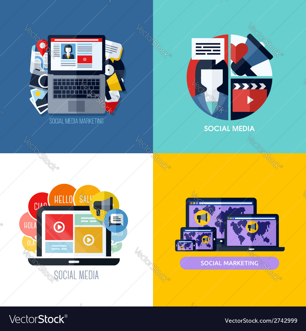 Modern flat concepts of social media marketing vector | Price: 1 Credit (USD $1)