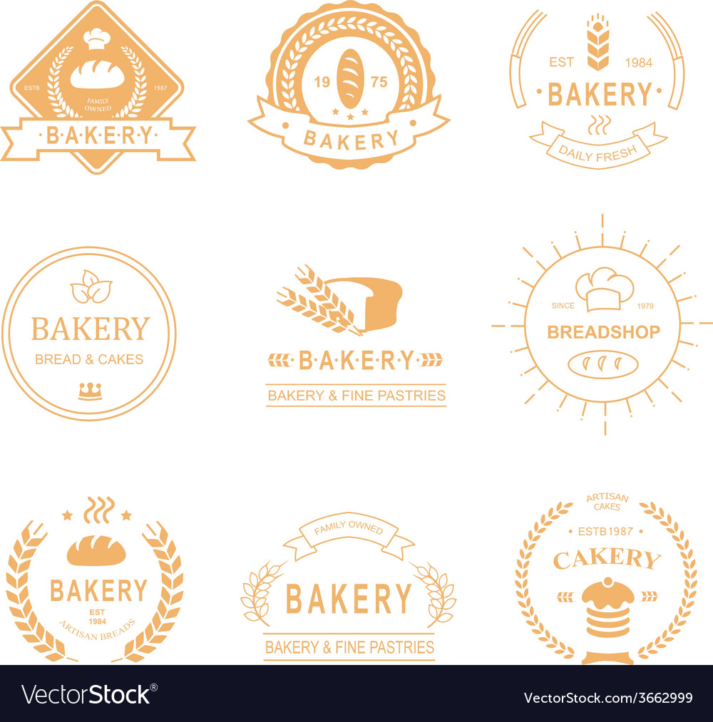 Set of bakery and bread shop logos labels badges vector | Price: 1 Credit (USD $1)