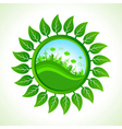 Eco city inside the leaf background vector