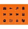 Real estate icons on orange background vector