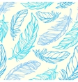 Seamless pattern with outline decorative feathers vector