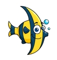Smiling cartoon striped tropical fish vector