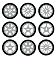 Automotive wheel with alloy wheels vector