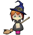 Young witch on a broomstick in the air vector