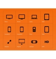 Screens icons on orange background vector