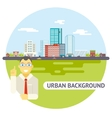 Geek businessman urban landscape city real estate vector
