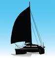 Sailing catamaran vector