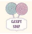 Hand drawn lollipop with label vector
