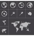 Black world map icons set vector
