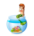 A mermaid sitting above the aquarium vector