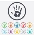 Hand print sign icon stop symbol vector