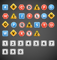Set of letters of road signs vector