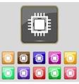 Central processing unit icon technology scheme vector