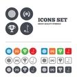 Golf ball icons laurel wreath award symbol vector