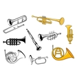 Wind instruments in sketch and cartoon style vector