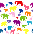 Seamless elephants silhouettes background vector