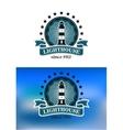 Nautical emblem with a lighthouse vector