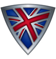 Steel shield with flag uk vector