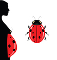 Pregnant woman with belly and ladybug vector