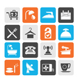 Silhouette hotel and motel icons vector