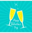 Champagne glasses sunburst happy valentines day vector