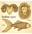Sketch zodiac ram fish and lion vector