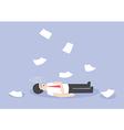 Businessman work hard and unconscious on the floor vector