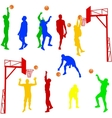Silhouettes of men playing basketball on a white vector