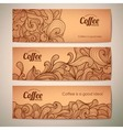 Set of decorative vintage coffee banners vector