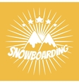 Flat snowboarding with mountains vector