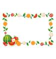 Mixed fruits border frame vector