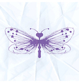 Dragonfly-blot on crumpled paper vector