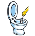 Cleaning a toilet bowl with brush vector